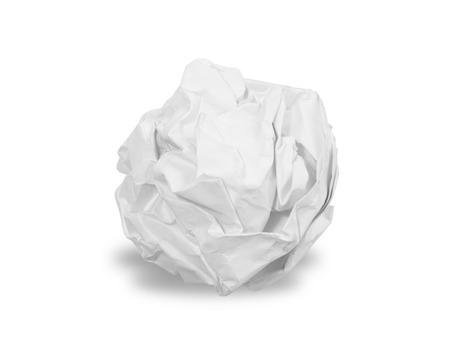 Foto de Crumpled paper ball isolated over white - Imagen libre de derechos