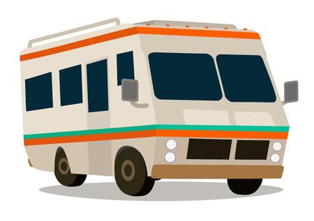 Illustration pour Vintage RV camper cartoon for vacations - image libre de droit