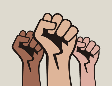 Illustration pour Raised three fists, power to the people - image libre de droit