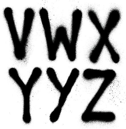 Ilustración de Detailed graffiti spray paint font type  part 4   Vector alphabet  - Imagen libre de derechos