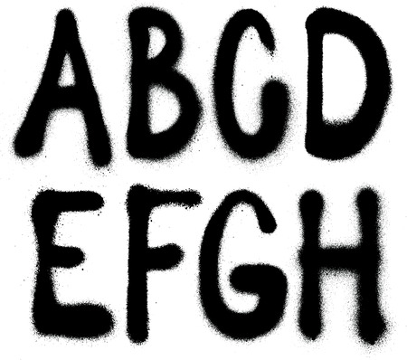Illustration pour Detailed graffiti spray paint font type  part 1   Vector alphabet  - image libre de droit