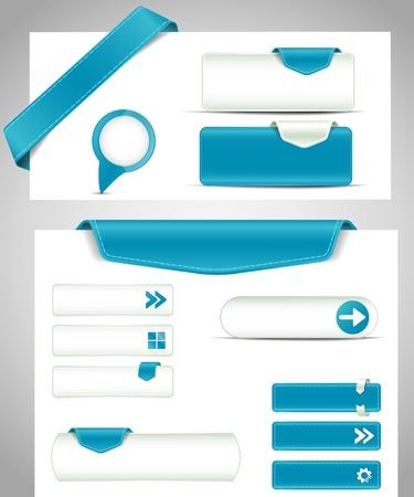 Illustration pour set of blue buttons, banners, bookmarks for your site - image libre de droit