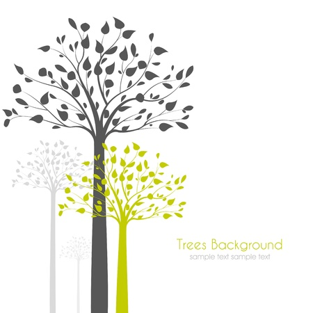Illustration for trees with leaves on white background - Royalty Free Image