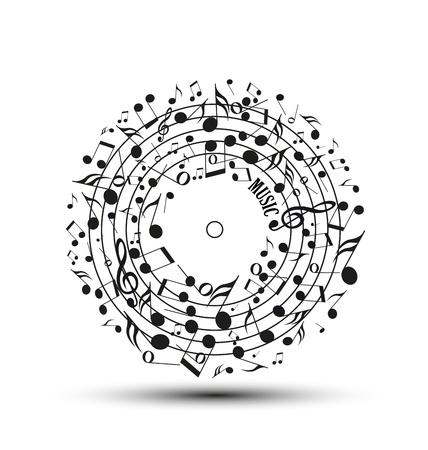 Ilustración de Decoration of musical notes in the shape of a circle - Imagen libre de derechos