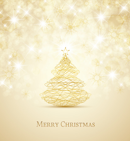 Illustration pour Merry Christmas card, Christmas tree and snowflakes - image libre de droit