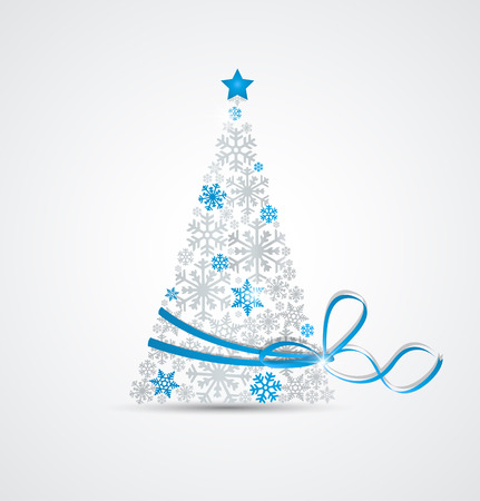 Ilustración de Christmas tree made from snowflakes with ribbon - Imagen libre de derechos