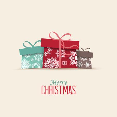 Ilustración de Retro decorative Christmas presents, Vector Christmas card - Imagen libre de derechos