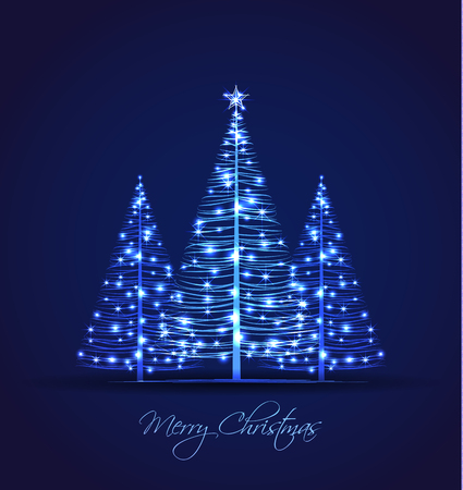 Illustration pour Vector Christmas trees on a blue background - image libre de droit
