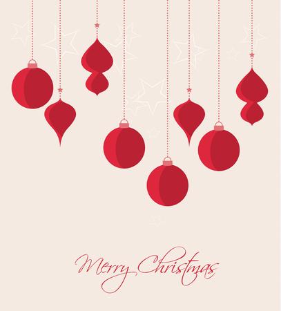 Ilustración de Retro decorative Christmas balls, vector Christmas card - Imagen libre de derechos