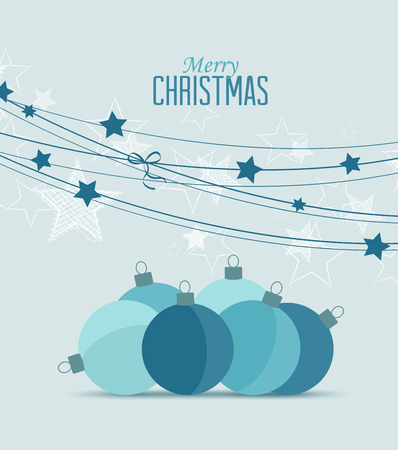 Photo for Retro decorative Christmas balls, vector Christmas card - Royalty Free Image