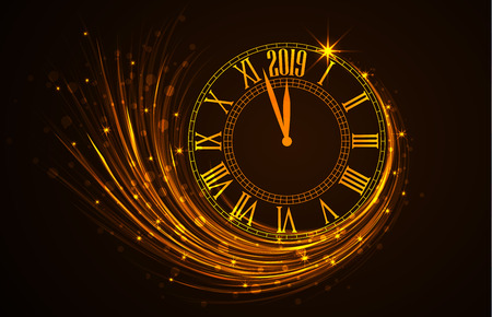 Illustration pour Happy New Year 2019, vector illustration of new year background with clock showing year - image libre de droit