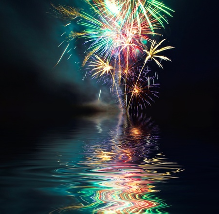 Photo for Colorful Fireworks  over Lake at night - Royalty Free Image