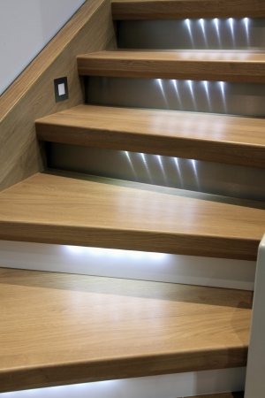 Photo for wooden stairs with led backlight - Royalty Free Image