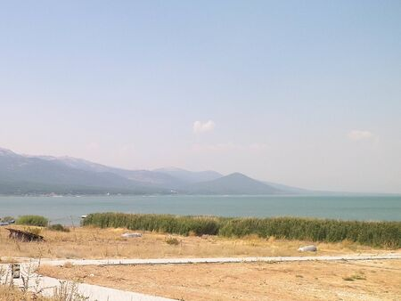 Photo pour Landscape of coast of Lake Prespa, Galicica National Park, Macedonia. - image libre de droit