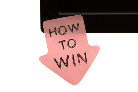 Photo for How to Win written on reminder sticky note. Business Concept. - Royalty Free Image