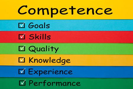 Foto de Competence diagram on colored paper sheets. Business Concept. - Imagen libre de derechos
