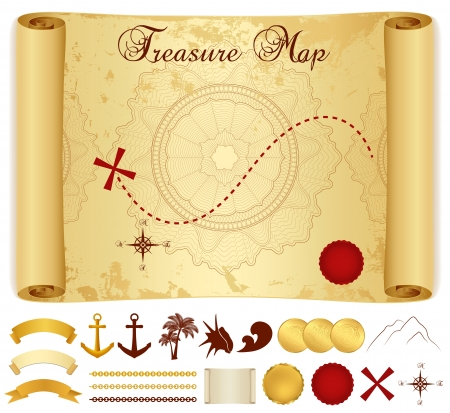Illustration pour Treasure Map on old   vintage   antique paper  scroll or parchment  with cross, red mark, compass, anchor, banner ribbon, palm tree - image libre de droit