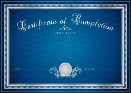 Illustration pour Dark blue Certificate, Diploma of completion (design template, sample background) with floral pattern (watermarks), border. Useful for: Certificate of Achievement, Certificate of education, awards - image libre de droit
