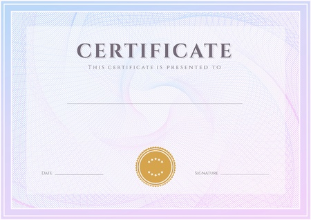 Illustration pour Certificate, Diploma of completion  design template, background  with guilloche pattern  watermark , border, frame  Useful for  Certificate of Achievement, Certificate of education, awards, winner - image libre de droit