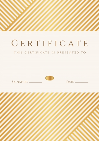 Illustration pour Certificate, Diploma of completion  template, background  with gold stripy  lines  pattern, frame  Certificate of Achievement, awards, winner, degree certificate, business Education  Courses , lessons - image libre de droit