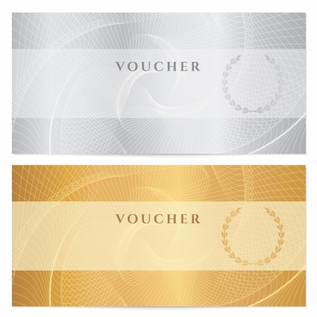 Illustration pour Background for banknote, money design, currency, bank note, check  cheque , ticket  Gold, silver. - image libre de droit