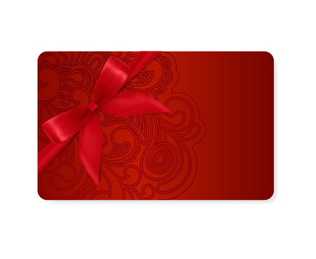 Illustration for Gift coupon, gift card  discount card, business card  with floral  scroll, swirl  dark red swirl pattern  tracery   Holiday background design for Valentine s Day, voucher, invitation, ticket  Vector - Royalty Free Image