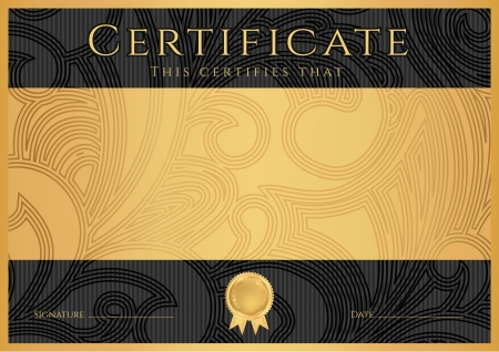 Illustration pour Certificate, Diploma of completion  black design template, dark background  with floral, filigree pattern, scroll border, frame  Gold Certificate of Achievement, coupon, award, winner certificate - image libre de droit