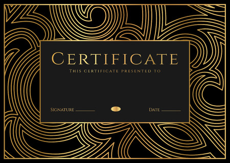 Illustration pour Certificate, Diploma of completion (design template, background) with guilloche pattern (watermark), rosette, border, frame. Black, gold Certificate of Achievement / education, coupon, award, winner - image libre de droit