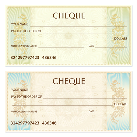 Illustration for Check (cheque), Chequebook template. Guilloche pattern with watermark, spirograph. Background for banknote, money design, currency, bank note, Voucher, Gift certificate, Coupon, ticket - Royalty Free Image