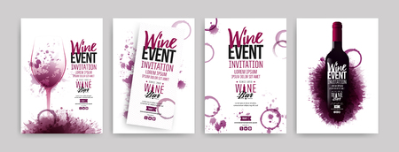 Illustration pour Collection of templates with wine designs. Brochures, posters, invitation cards, promotion banners, menus. Wine stains background. Vector illustration. Layered - image libre de droit