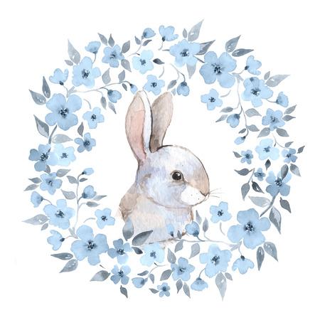 Foto de White rabbit 2. Rabbit and floral wreath. Watercolor illustration in vector - Imagen libre de derechos