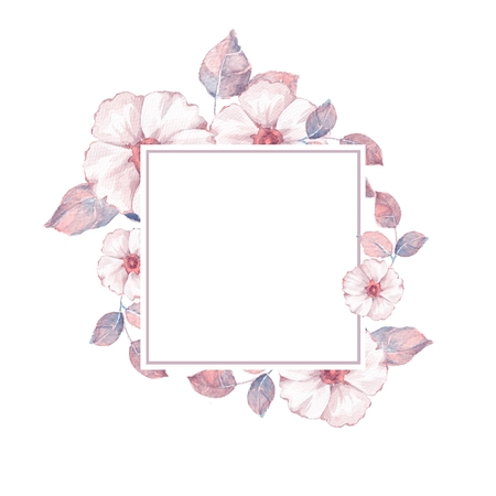 Watercolor floral frame. Element for design. Watercolor background with delicate flowers 2