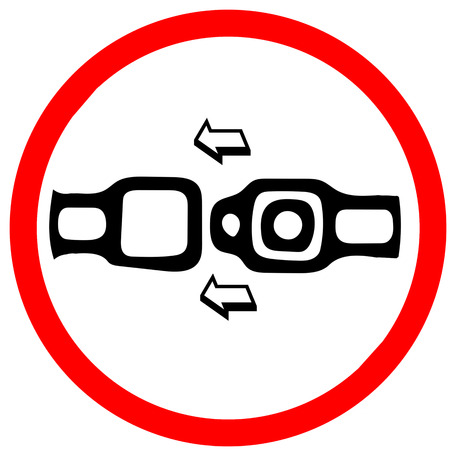 Photo pour Fasten safety seat belt. Red prohibition warning symbol sign on white background - image libre de droit