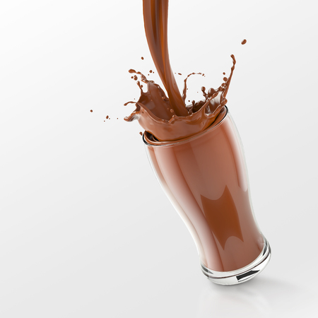Photo for Fresh chocolate Splash in the glass,pouring chocolate splash isolated on white background with clipping path,3d rendering. - Royalty Free Image