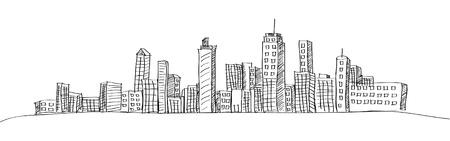 Ilustración de Cityscape Vector Illustration Line Sketched Up - Imagen libre de derechos