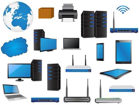 Ilustración de LAN Network Diagram icons Vector Illustrator , EPS 10  for Business and Technology Concept  - Imagen libre de derechos