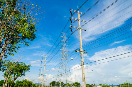 Photo for High voltage power pole with Blue Sky field in Estates Zone. - Royalty Free Image