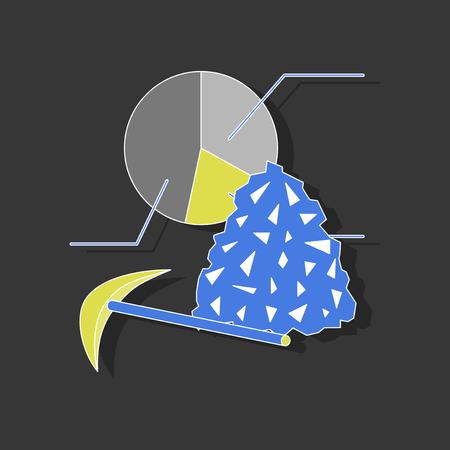 Ilustración de paper sticker on stylish background Coal and hammer Infographic - Imagen libre de derechos