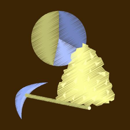 Ilustración de flat shading style icon Coal and hammer Infographic - Imagen libre de derechos