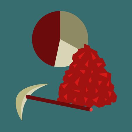 Ilustración de flat icon on stylish background Coal and hammer Infographic - Imagen libre de derechos