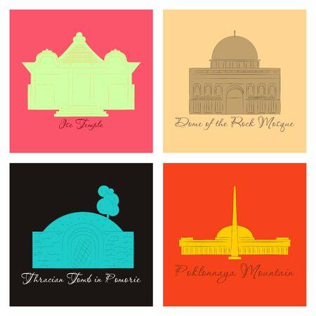 Ilustración de famous place and monument around the world. - Imagen libre de derechos
