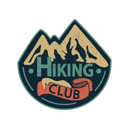 Ilustración de Vector illustration with graphic elements and lettering. Hiking Club. - Imagen libre de derechos