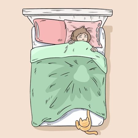 Illustration pour Cat catching legs under the blanket. Girl wakes up because of her cat. Top view. - image libre de droit