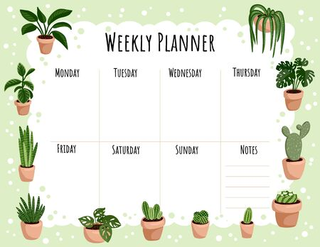 Ilustración de Cozy boho weekly planner and to do list with hygge potted succulent plants ornament. Cute lagom template for agenda, planners, check lists, and other stationery - Imagen libre de derechos