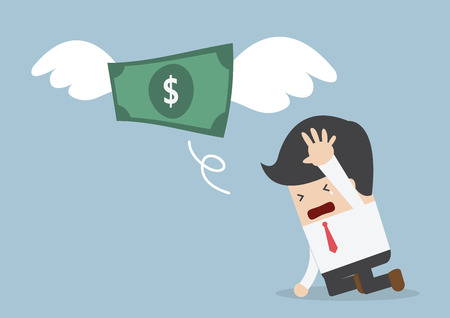 Illustration pour Money is flying away from sadness businessman, VECTOR, EPS10 - image libre de droit