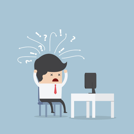 Illustration pour Confused businessman in front of computer, VECTOR, EPS10 - image libre de droit