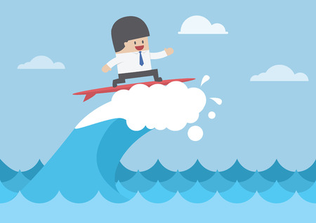 Ilustración de Businessman surfing on wave, Business concept, VECTOR, - Imagen libre de derechos
