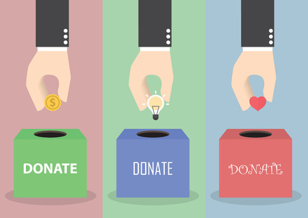 Illustration for Businessman hand putting coin, light bulb and heart into the box, Donation concept, VECTOR, EPS10 - Royalty Free Image