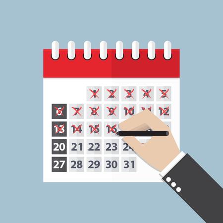 Illustration pour Businessman hands mark on the calendar, VECTOR. - image libre de droit
