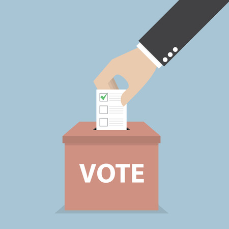 Illustration pour Businessman hand putting voting paper in the ballot box, Voting concept, VECTOR - image libre de droit